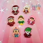 Kawaii  Christmas Feltie SET ITH Embroidery Design 4x4 hoop (and larger)